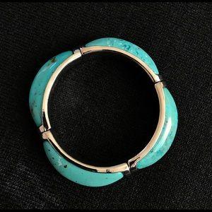 New Cookie Lee Turquoise Silver Stretch Bracelet